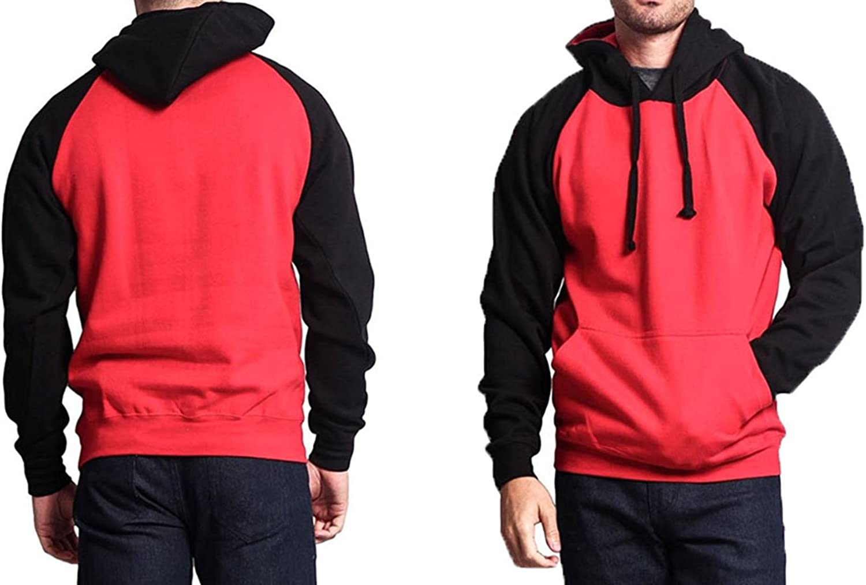 SR New Fleece Hoodie   Pullover Hooded Winter Jacket   Two Tone Raglan Arm Warm Thick Sweatshirt