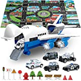 SLENPET Large Airplane Toy with 6 Police Cars Set, 32.6x22.4 Inch Play Mat, 11 Road Signs, 9 in 1 Vehicle Toys for 2 & 3 Year Old Boys, Kids, Toddlers, Childs