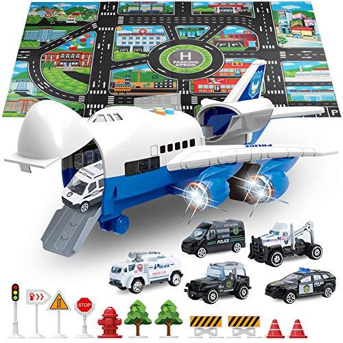 SLENPET Juguete de avión grande con 6 coches de policía, alfombra de juego de 32.6 x 22.4 pulgadas, 11 señales de carretera, juguetes de vehículo 9 en 1 para niños de 2 y 3 años, niños, niños pequeños, niños