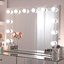 Chende Hollywood Light, Makeup Dressing Table Set Mirrors with Dimmer, Tabletop Vanity LED Bulbs Included (8065, Frameless)