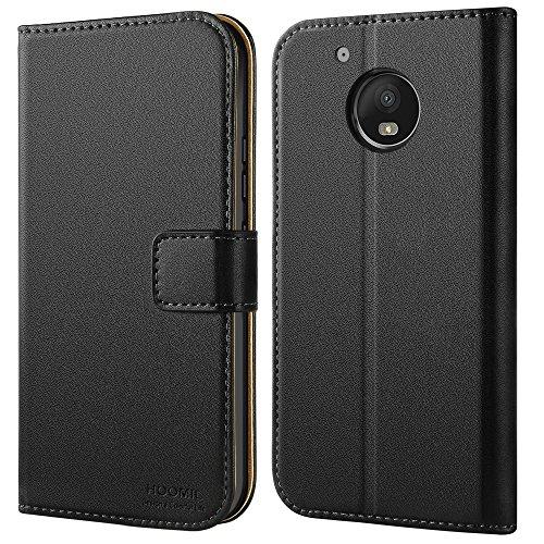 HOOMIL Handyhülle für Moto G5 Hülle, Premium PU Leder Flip Schutzhülle für Motorola Moto G5 Tasche, Schwarz