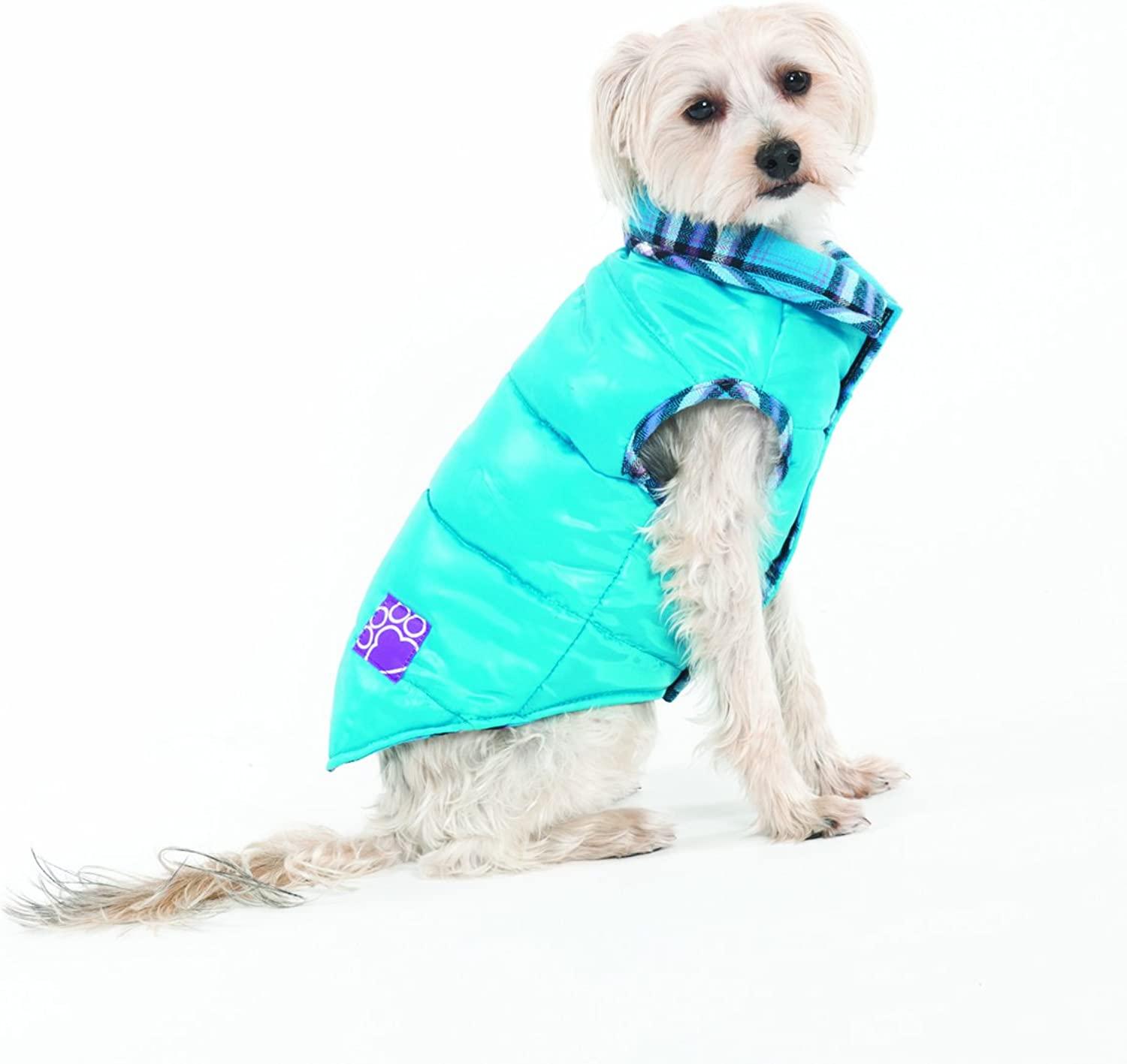 Fashion Pet Lookin Good Reversible Puffy Vest for Dogs, Small, Turquoise