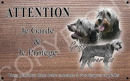 Pets-Easy.com Attention Chien de Garde personnalisée Chien Griffon - pré percée et vis comprises. De 30 cm à 15 cm…