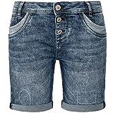 Sublevel Bermudas vaqueras para mujer, pantalones cortos elásticos con solapa, cómodos pantalones cortos con aspecto desgastado., azul oscuro 10, S