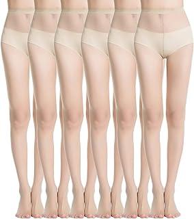 Mànzi Damen 6 Paare Classic Strumpfhose mit Comfort Stretch 20 Denier,Schwarz,Beige,Hautfarben