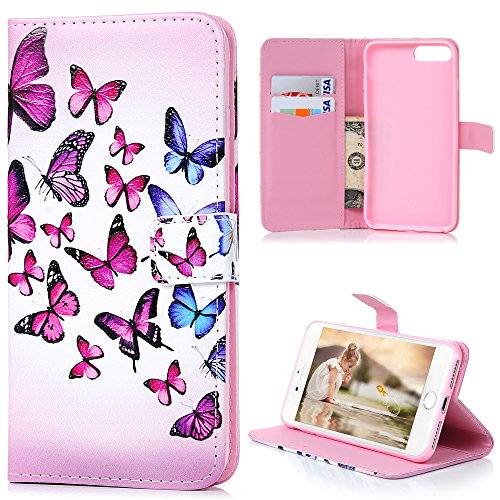 AuchSo - Funda de Piel para iPhone 8 Plus, iPhone 7 Plus, Funda de Piel con Tapa y Cierre magnético y Monedero