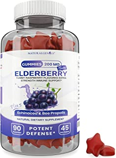 Natural Genius Elderberry Gummies with Echinacea and Bee Propolis - Kids and Adults - True 45-Day Supply/Bottle