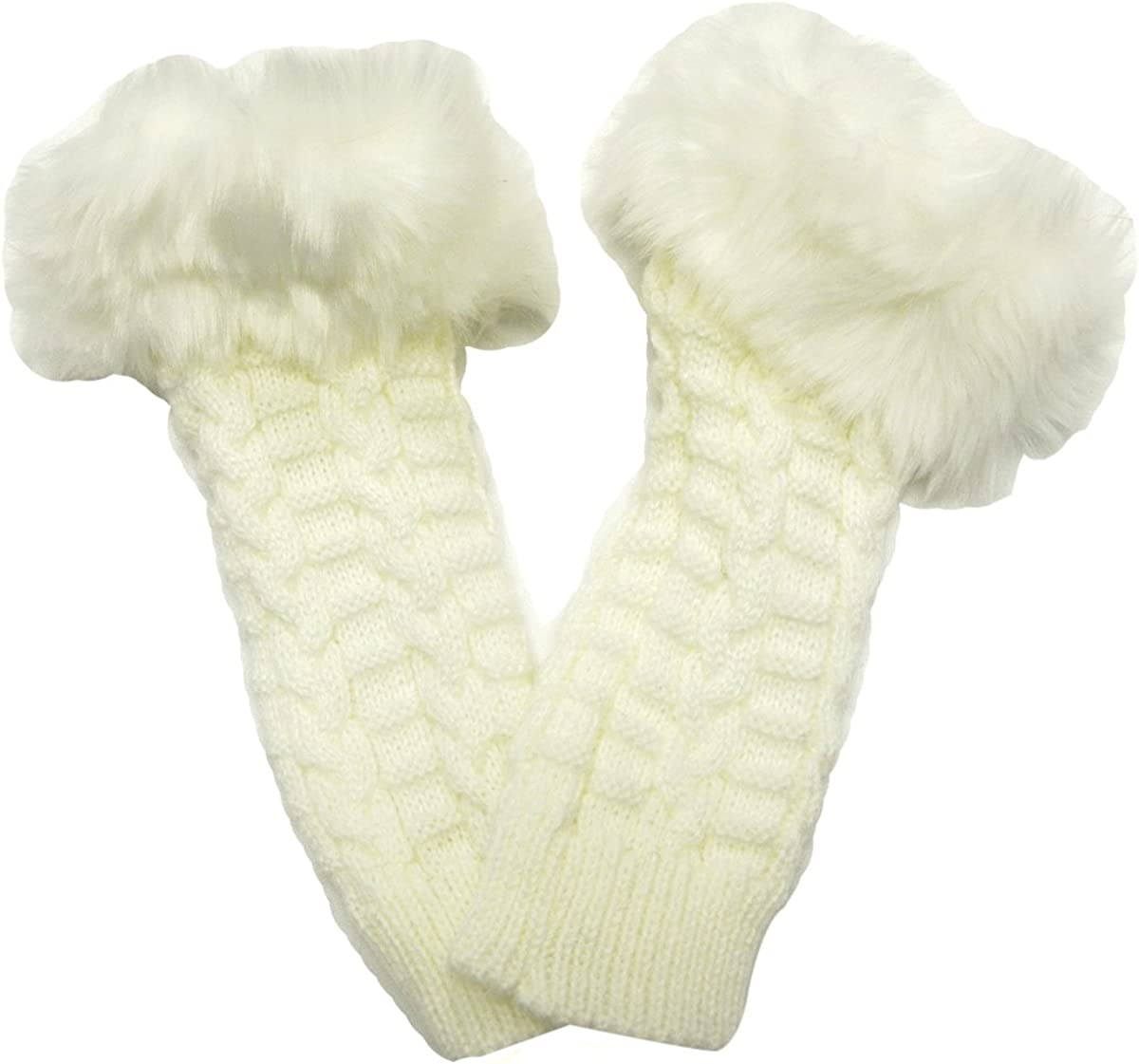 Wrapables Fingerless Gloves with Faux Fur Trim - White