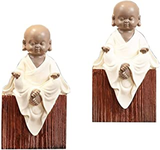 Unique design Bookends Bookshelf Home Accessories Study Room Decoration Little Monk Decoration Books Resin Crafts Decorate your home (Color : White, Size : One size)