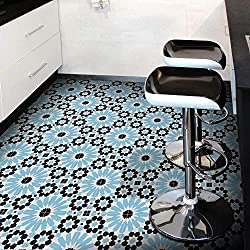 Moroccan Mosaic & Tile House CTP09-02 Adgal Handmade Cement Tile in Black, Sky Blue, and White