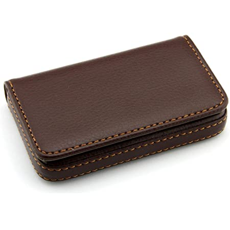 Storite Pocket Sized Stitched PU Leather Credit Debit Business Card Holder (Coffee Brown)