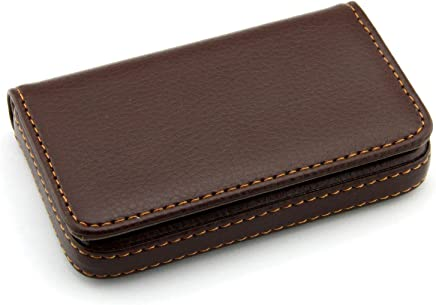 Storite Pocket Sized Stitched Leather Credit Debit Visiting Card Holder (Coffee Brown)