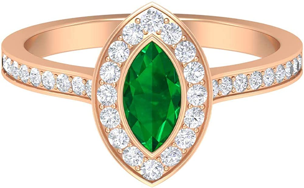 0.6 CT New product 8X4 MM Marquise New product! New type Solitaire Shape Ring Engagement Emerald