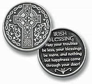 TEN (10) Pewter IRISH BLESSINGS Prayer - Pocket Tokens CELTIC CROSS - 1