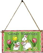 Amosfun Paasgeschenk paas-houten bord paas-zegen hangende plaque Pasen bunny print hanging board met mooie bloem
