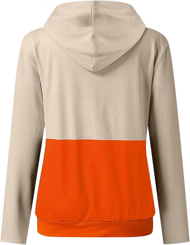 Halloween Hoodies for Women Pumpkin Printed Sweatshirts Casual Long Sleeve Hooded Blouse Loose Drawstring Pullover Shirt