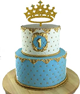 [USA-SALES] Prince Crown Cake Topper, Boy Birthday King, First Birthday, It's A Boy Baby Shower Cake Topper, Gender Reveal Party Decoration, by Usa-Sales Seller