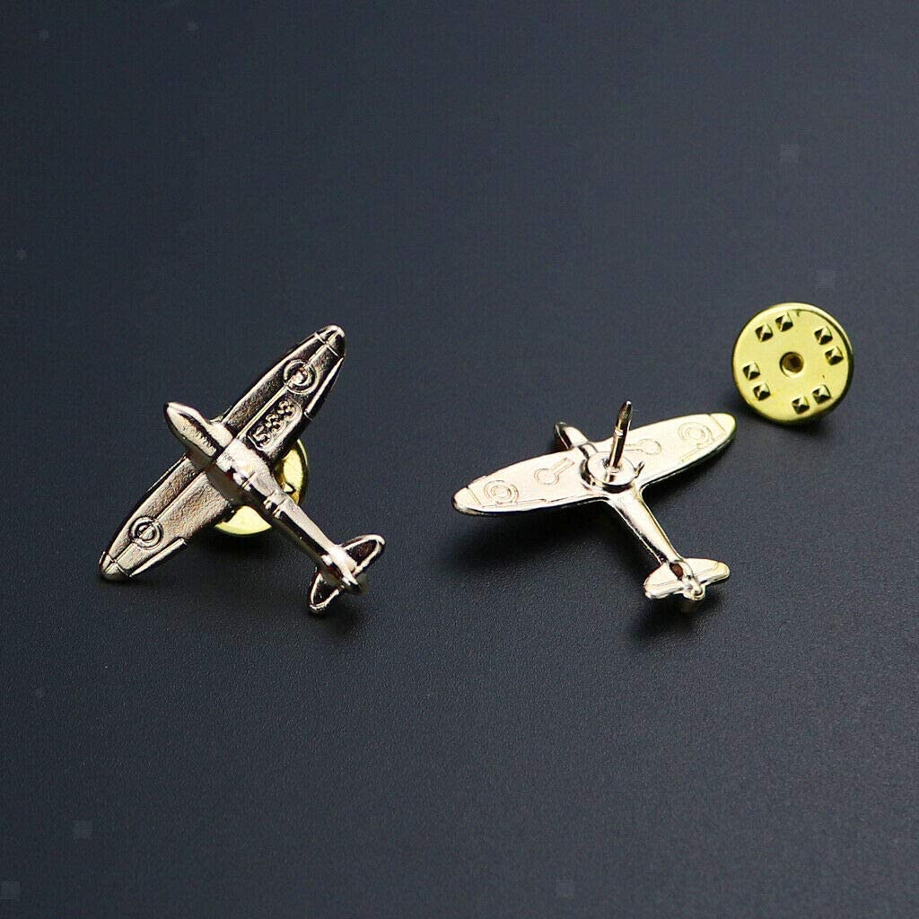 1 Pair of Small Airplane Shirt Collar Tips Brooches Pin for Men Gold