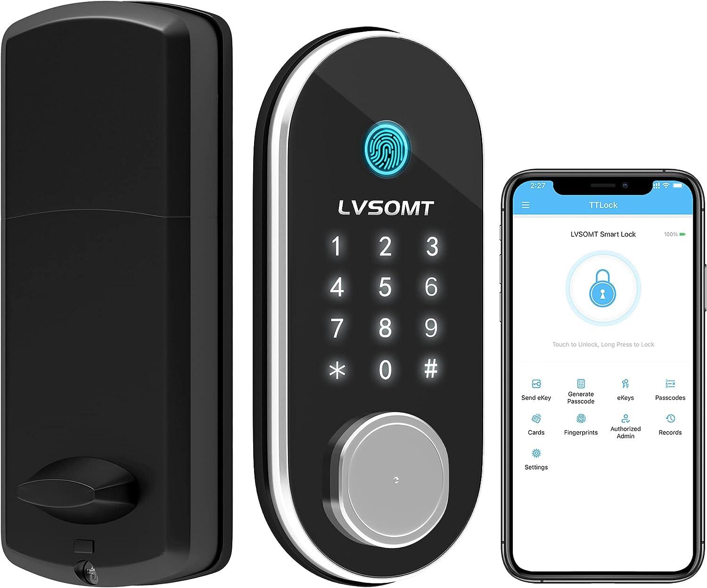 LVSOMT Security Smart Door Lock, Keyless Entry Deadbolt, Fingerprint Electronic Scanner & Passcode Front Door Lock, Touchscreen Keypad, App Bluetooth Control, eKey Auto Lock for Home Hotel Office