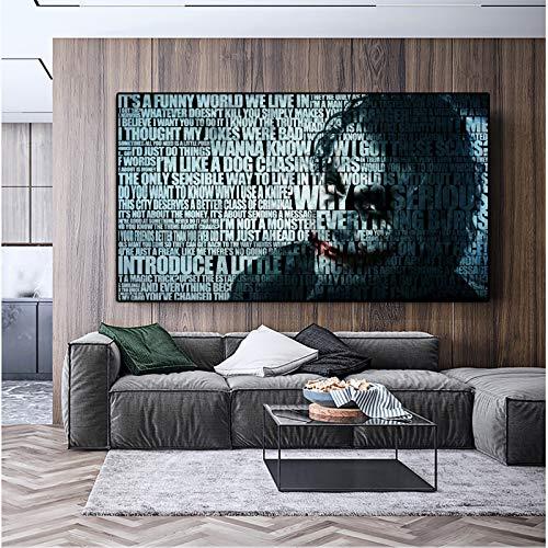supmsds Kein Rahmen Moderne Wandkunst Leinwand Malerei abstrakte Joker Porträt Poster und Drucke Wandbilder für Wohnzimmer Cuadros Home Decoration 60x90cm