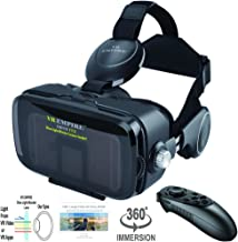 VR Headset Virtual Reality Headset 3D Glasses with 120°FOV, Anti-Blue-Light Lenses, Stereo Headset, for All Smartphones wi...