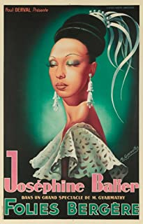 Josephine Baker Folies Bergere (artist: Gyarmathy) France c. 1949 - Vintage Advertisement (16x24 Fine Art Giclee Gallery Print, Home Wall Decor Artwork Poster)