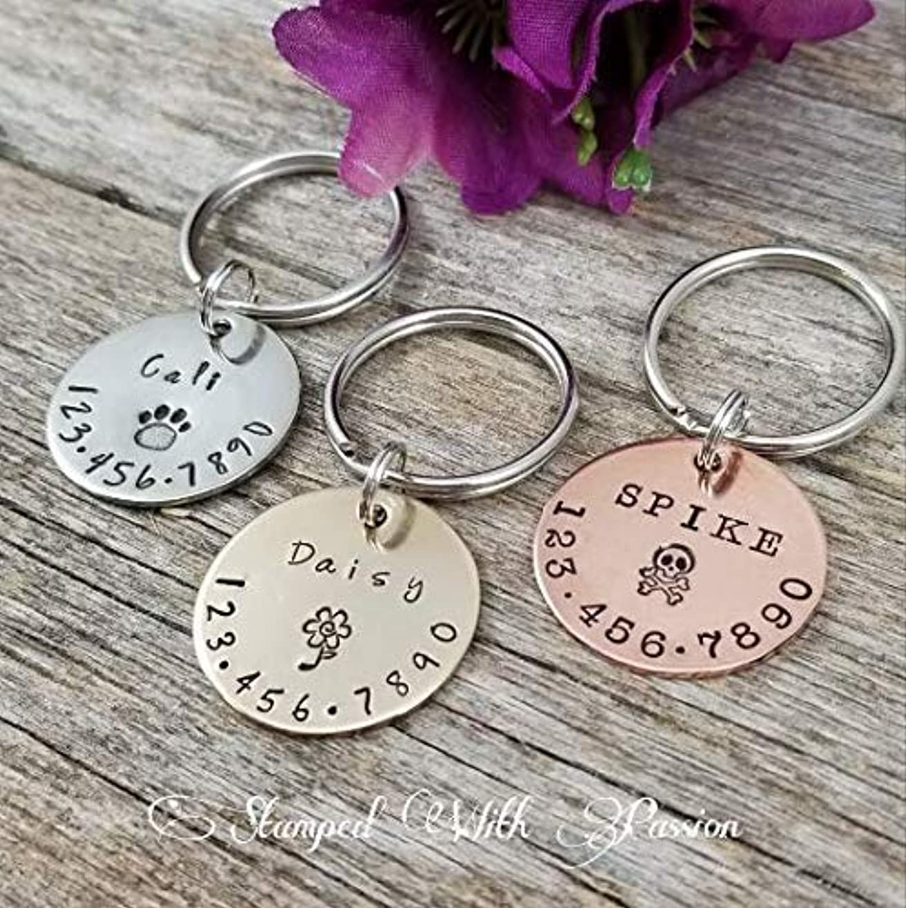 Pet Id Tag, Personalized Dog and Cat Tags, Dog Id Tag, Cat Id Tag, Dog collar tag, Cat collar tag, Silver, Copper and Bronze