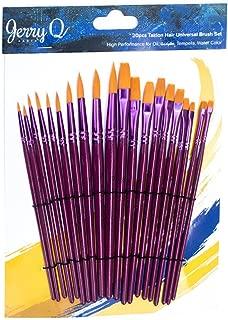 Jerry Q Art 20 pcs Golden Taklon Universal Brush Set for Watercolor, Acrylic, Oil, Tempera. Short Wooden Handles JQ202