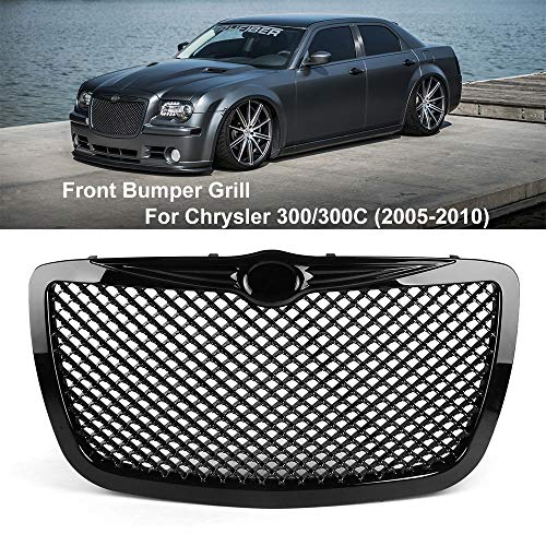 Frontgrill für Chrysler 300 / 300C (2005-2010), Dekorative Gitterabdeckung für Autokühler, zur Modifikation von Originalzubehör, Silber und Schwarz Optional,Black