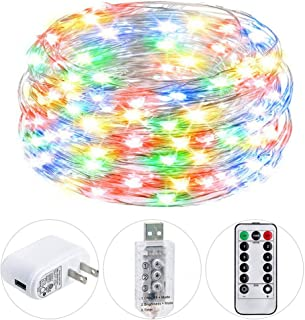 HSicily USB Plug in Fairy Lights with Remote Control Timer, 8 Modes 33ft 100 LED USB String Lights with Adapter,Multi Color Waterproof LED Twinkle Lights for Bedroom Indoor Decoration