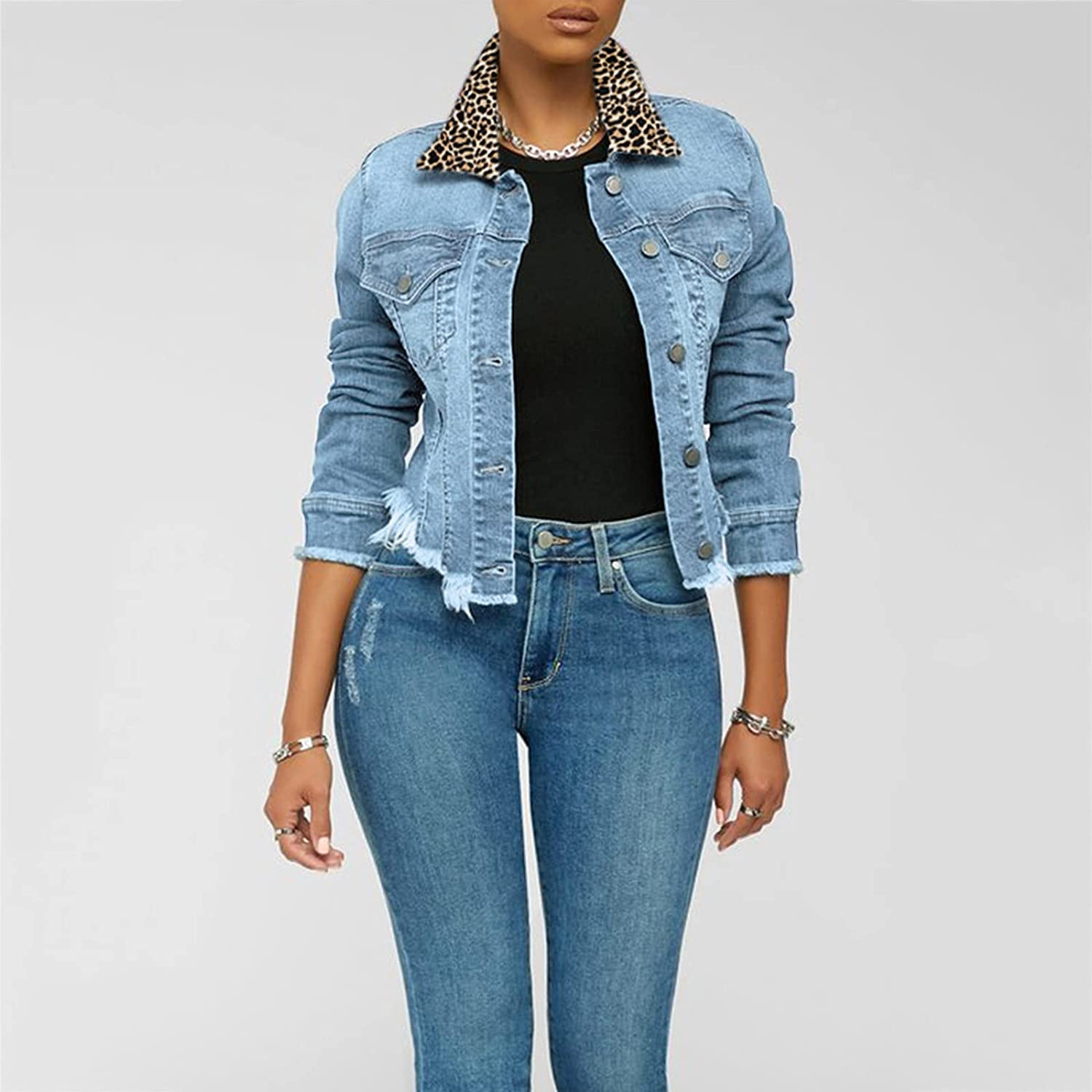 Euone_Clothes Jackets for Women Fashion, Womens Casual Blouse Women's Button Perforated Denim Jacket with Pocket Coat