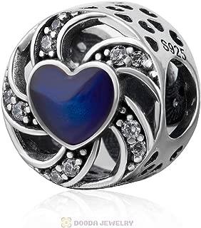 Crystal Swirl Ribbon With Blue Heart CZ Stone 925 Sterling Silver Love Charm Fit European Bracelets