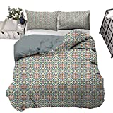 UNOSEKS LANZON Parure de lit pour garçon avec motif de culture espagnole ornementale, symétrique, palette florale, respirante et confortable Multicolore 203 x 230 cm