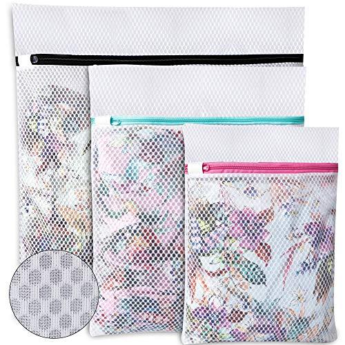 Amazon Brand - Umi Bolsas para la Colada de Malla de Panal para almacenar o Lavar delicadas Blusas, Medias, Ropa Interior y Sujetadores, Bolsas de lavandería para organización de Viajes - 3 Piezas