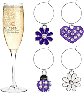 P407 Cute Purple Heart Ladybugs Flower Wine Charms Glass Marker for Party with Velvet Bag- Set of 4