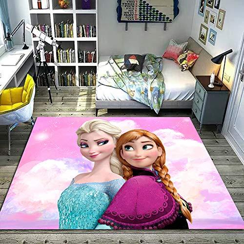 GOOCO Frozen Anime Carpet Tappeto della Principessa dei Cartoni Animati Antiscivolo per Bambini, Tappeto per Bambini Giocattolo per Bambini