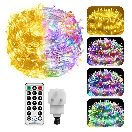 Outdoor String Lights Plug in 30M 200LED Fairy String Light Mains Powered 11 Modes Warm White & MulticolorChanging with RemoteConnectable Indoor Fairy Lightsfor Room Home Party Decorations