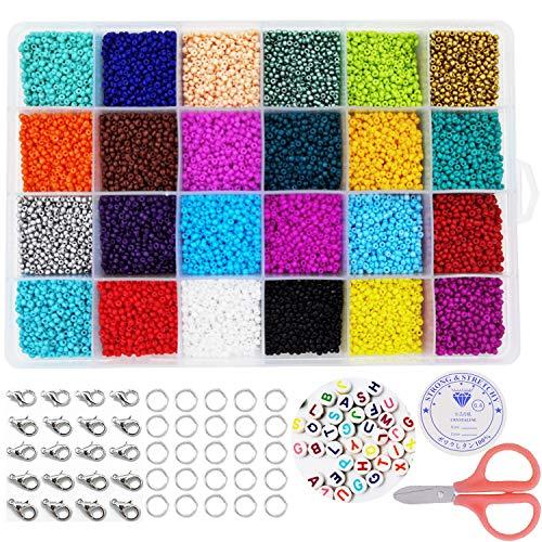 Cuentas de Colores 24000 piezas Abalorios para Hacer Pulseras, 24 Colores Conjunto de Cuentas de Colores con Alfabeto Redondo Cuentas y herramienta de abalorios, 2mm Mini Cuentas para DIY Pulseras