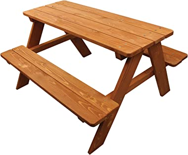 Kid's Brown Wood Picnic Table Boys Girls