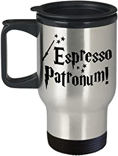 Espresso Patronum Coffee Travel Mug, Insulated Stainless Steel Tumbler, Harry Potter Themed Fan Gift