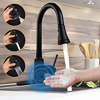 Touchless Kitchen Faucets Kitchen Sink Faucet With Three Function Pull Down Sprayer One Hole And Three Hole Deck Mount Single Handle For Automatic Motion Sensor Stainless Steel Oil Rubbed Bronze