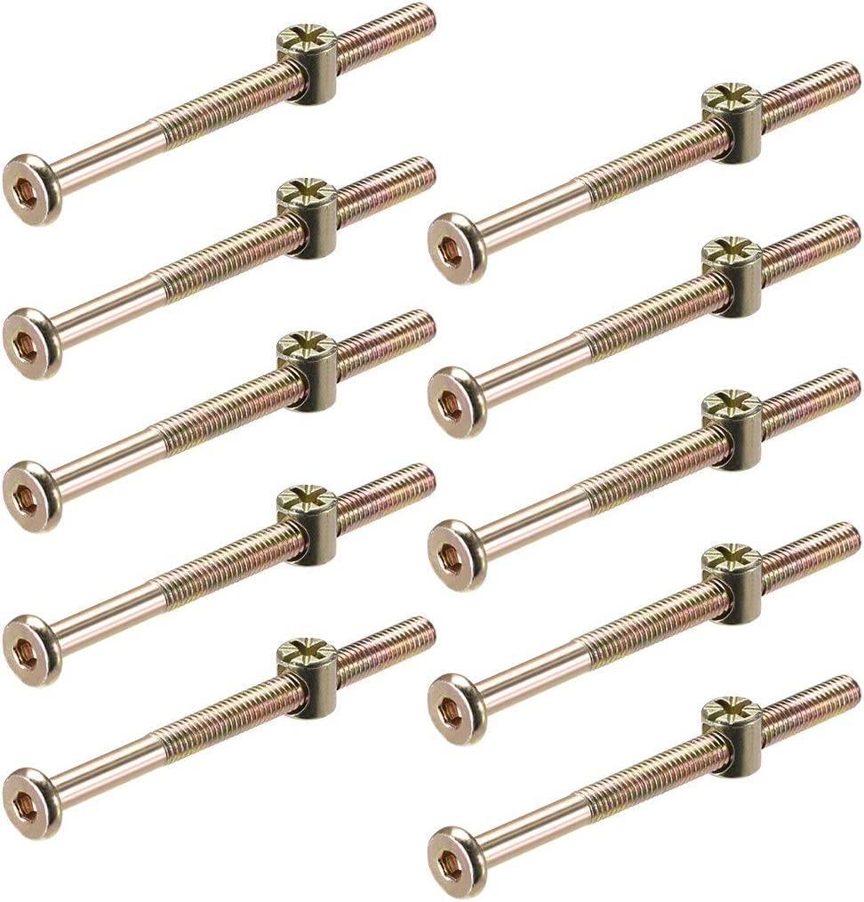 sourcing map M6 x 100mm Furniture Bolts Nut Set Hex Socket Screw with Barrel Nuts Phillips-Slotted Zinc Plated Half Thread 10 Sets