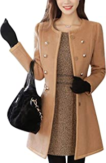 Tanming Womens Casual Crew Neck Wool Blend Double Breasted Pea Coat Trench Coat
