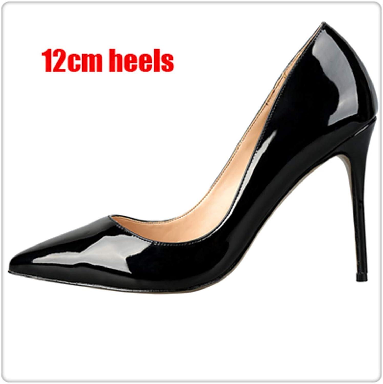 90 colors Different High Heels Women Pumps Classical Woman Dress shoes Party shoes Extra Size 34-45 Black Patent 12cm 10