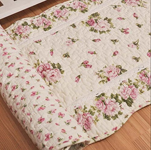 Ustide Rustic Rose Flowers Area Carpet,Home Decor Cotton Pink Roses Pattern Bedroom Floor Rugs,Unique Quilted Washable Bathroom Rug 2x4 (Pink)