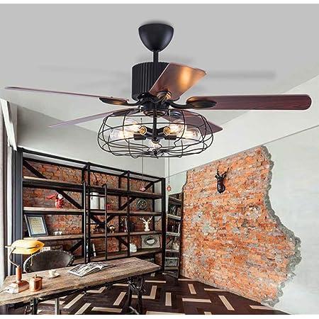 Moerun 52inch Ventilateur de plafond vintage avec lumières pour lustre industriel, télécommande et éclairage réversible, ampoules de moteur silencieuses nécessaires