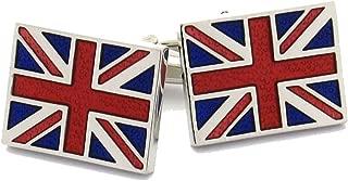 Mens Executive Cufflinks Flags Around the World Silver Tone Union Jack British Flag European Cuff Links
