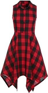 チェックのワンピース フレアワンピース YOKINO 韓国ファッション レディース チェック柄 ワンピース 女性 夏ワンピース 森ガール ナチュラル系 お呼ばれ 可愛い レディース (XL, レッド)