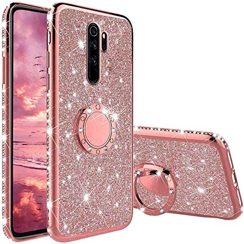 XTCASE Cover Glitter per Xiaomi Redmi Note 8 PRO, Custodia Brillantini Diamanti con Supporto Girevole a 360 Gradi, Ultra Sottile Morbid TPU Silicone Antiurto Protettiva Case, Rosa