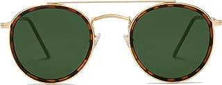 SOJOS Small Round Polarized Sunglasses Double Bridge Frame Mirrored Lens SUNSET
